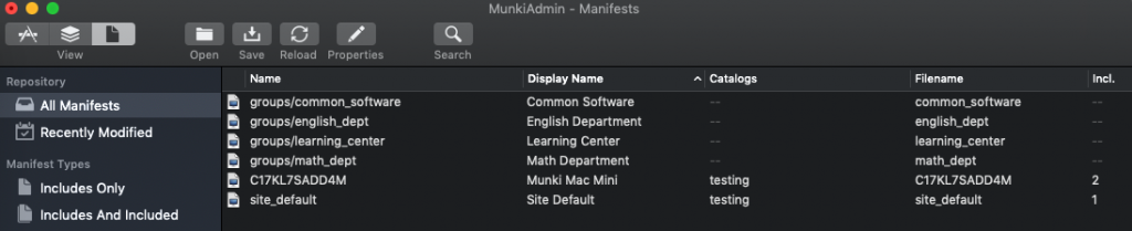 Manifest organization viewed through MunkiAdmin