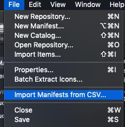 Import Manifests from CSV menu in MunkiAdmin